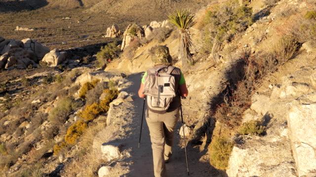active woman coming down the hill along the trail in the mojave desert rear view - attività equestre ricreativa video stock e b–roll