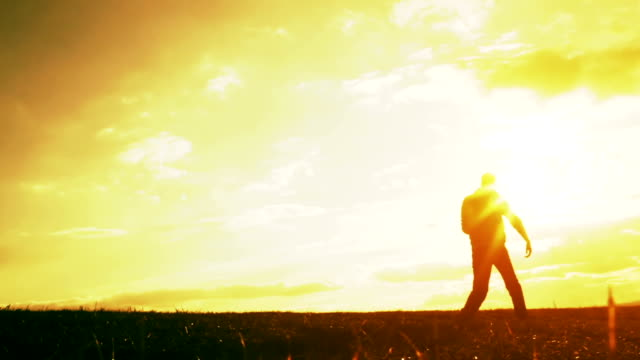 Active Young Man Jogging Running at Sunset Silhouette video