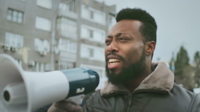 Activism megaphone shout. Loudspeaker activist scream. Strike protest revolt. video