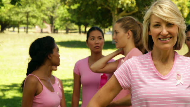Activists for breast cancer awareness in the park video