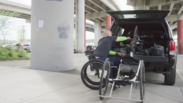 Adaptive Athlete Unloading a Bicycle video