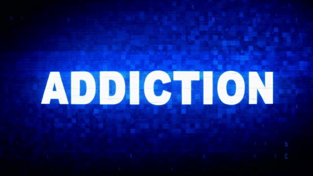 addiction text digital noise twitch glitch distortion effect error animation. - assuefazione video stock e b–roll