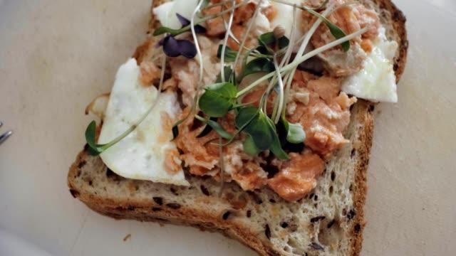 lägga till färska gröna groddar på sandwich med lax och ägg - böngrodd bildbanksvideor och videomaterial från bakom kulisserna