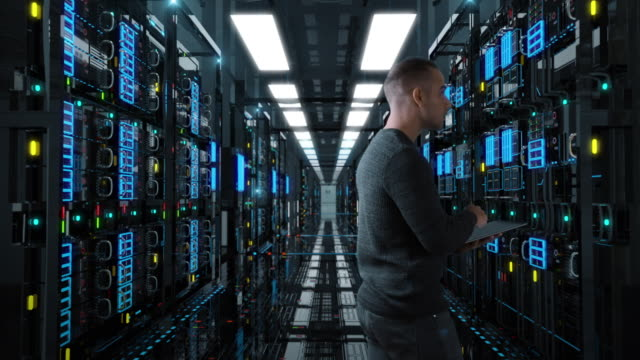 Administrator man Standing in the Server room System Administrator Man With A tablet Standing In A Futuristic High Tech Server Room. Camera move forward. IT Technician 3d render concept. Crypto Currency Mining. Bitcoin farm. ProRes 10Bit. rack stock videos & royalty-free footage