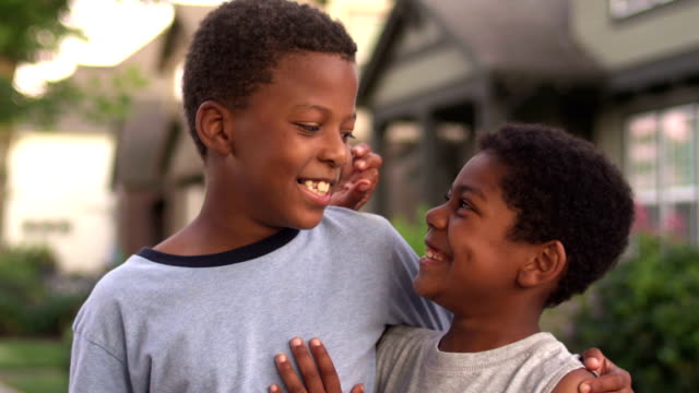 Adorable African American boys portrait. Close up video