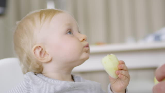 Adorable Baby Eating Apple - vídeo