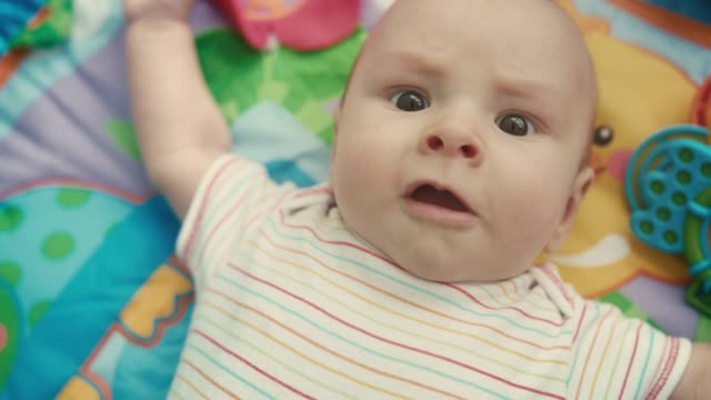 adorable baby face. portrait of cute infant boy. cute boy infant. sweet child - soltanto neonati video stock e b–roll