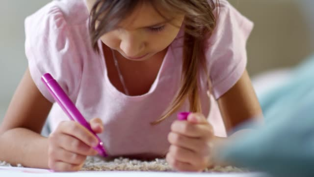 Adorable Girl Drawing a Beautiful Picture video
