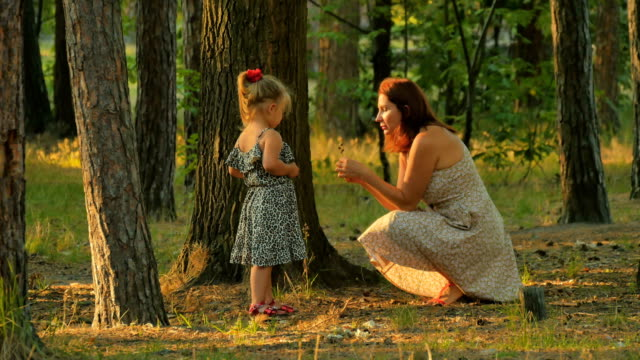 Adorable girl with young mother collects acorns and cones in the forest video