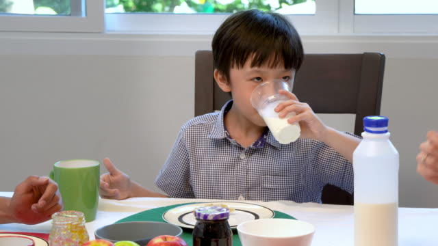 adorable happy young asian boy having breakfast and drinking milk at home in the morning; looking at camera - tylko dzieci filmów i materiałów b-roll