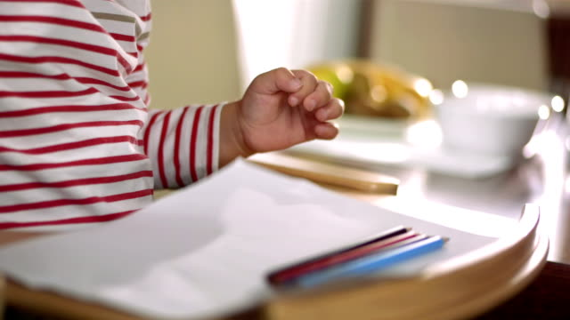 Adorable Little Boy Drawing video