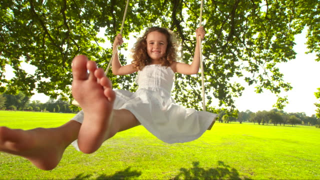 HD SLOW MOTION: Adorable Little Girl On A Swing video