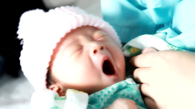 Adorable Newborn Baby Sleeping. HD1080p : Adorable Newborn Baby Sleeping in hospital. newborn stock videos & royalty-free footage