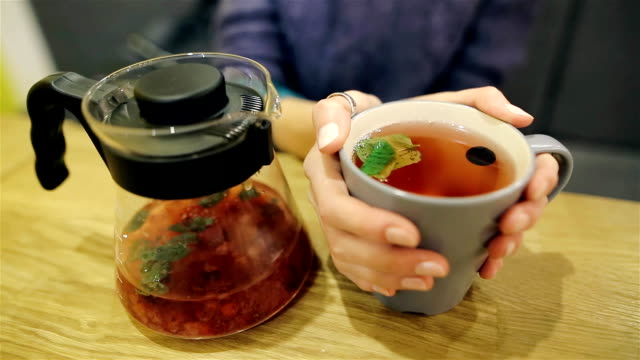 Adorable young girl sitting at the table drinking tea and warming his hands. Hot scandinavian tea with blueberries and mint. Closeup of caucasian female hands video