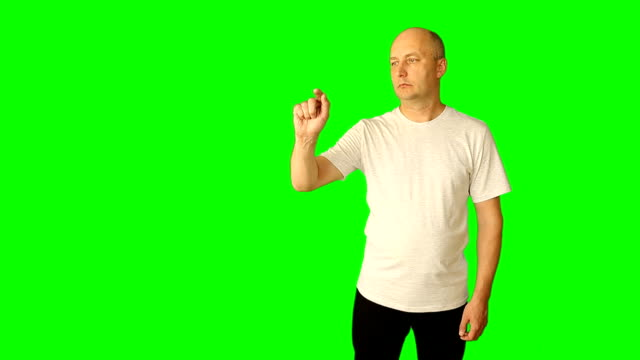 vídeos de stock e filmes b-roll de adult caucasian man show gestures on virtual screen gestures. virtual reality. hand finger gestures line pinch swipe scroll touch tap pointer up. clip with premultiplied matted alpha channel. - teeshirt template