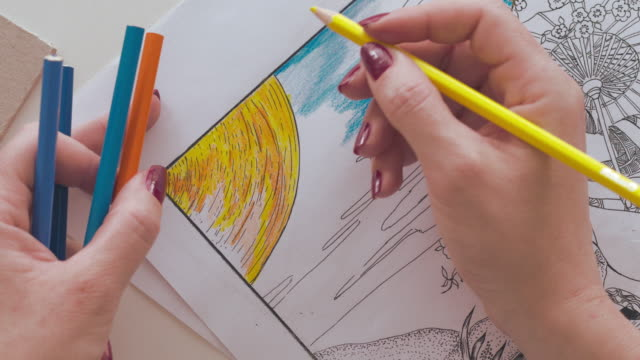 Adult Coloring Book Female Hands Drawing Video