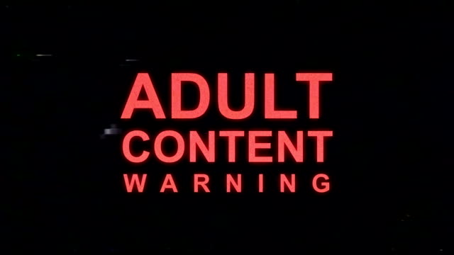 Adult Content Warning in VHS Look Adult Content Warning in VHS Look warning sign stock videos & royalty-free footage