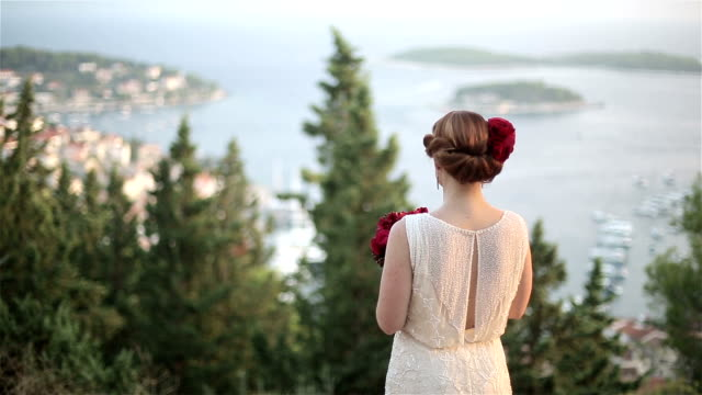 vídeos de stock e filmes b-roll de casal adulto admirar a bela vista do mar - man admires forest