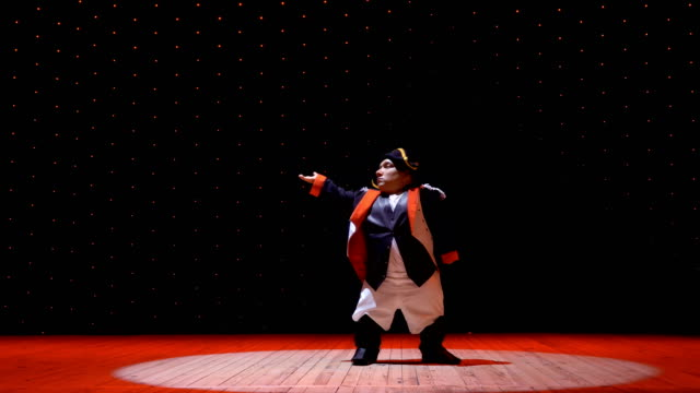 Adult dwarf man in costume in light of spotlight on the stage video