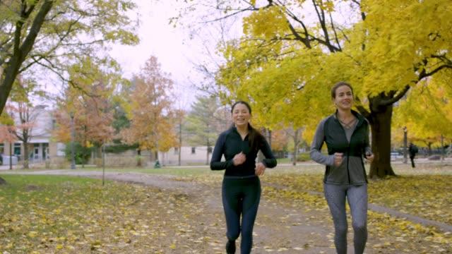 vídeos de stock, filmes e b-roll de fêmeas adultas para correr em um parque durante a queda - 20 24 anos