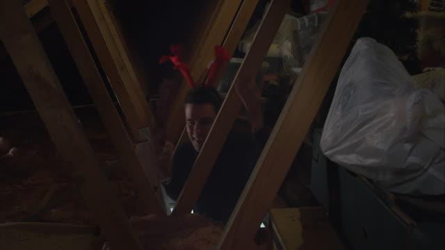 männlichen erwachsenen immer weihnachtsbaum nach unten vom dachboden rechtzeitig zu weihnachten - dachboden stock-videos und b-roll-filmmaterial