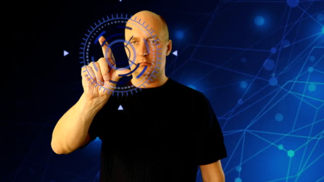 Adult man on futuristic background gestures virtual screen. Shureshki rotation. Gestures on touchscreen zoom touch swipe pinch. Sci-fi techno animation HUD GUI interface. Modern technology fituristic video