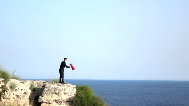 Adult Man Shouting Through Red Megaphone In Outdoor video