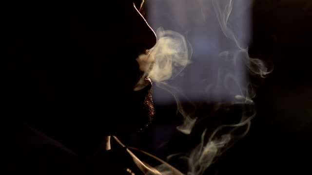 Adult man smokes a cigar in the dark, lot of smoke video