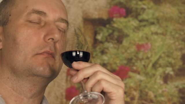 Adult man sommelier looking on red wine in glass before tasting close up video