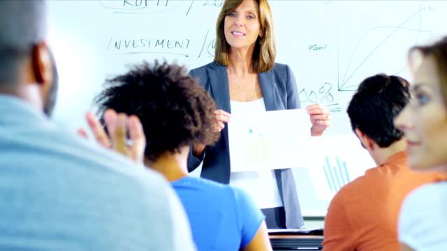 Adult Multi Ethnic Students Caucasian Lecturer video