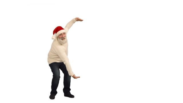 adult senior beard man showing an copy space and  crosses his arms in a hat santa claus  on a white background video