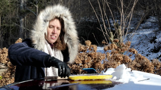 Adult Woman Cleaning Snow Off Car Roof