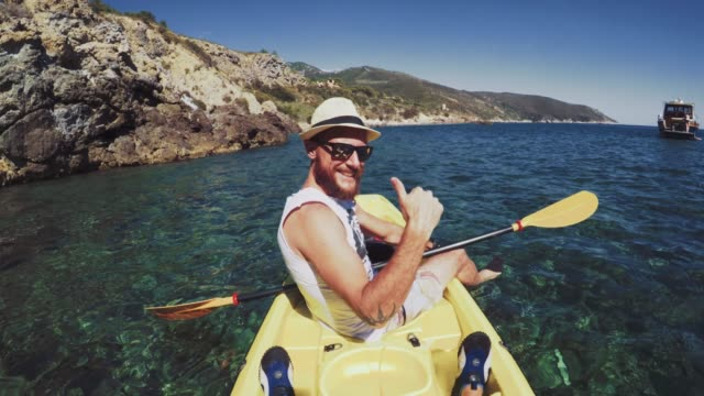 POV adventure: kayaking in a summer sea video