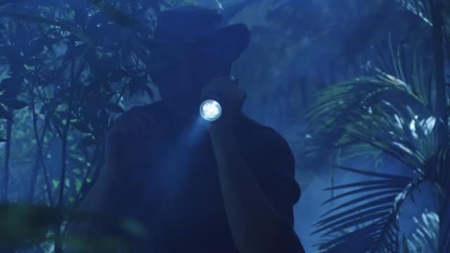 äventyrare i hatt vandring genom djungeln skogen i natt. med hjälp av ficklampa - på tå bildbanksvideor och videomaterial från bakom kulisserna