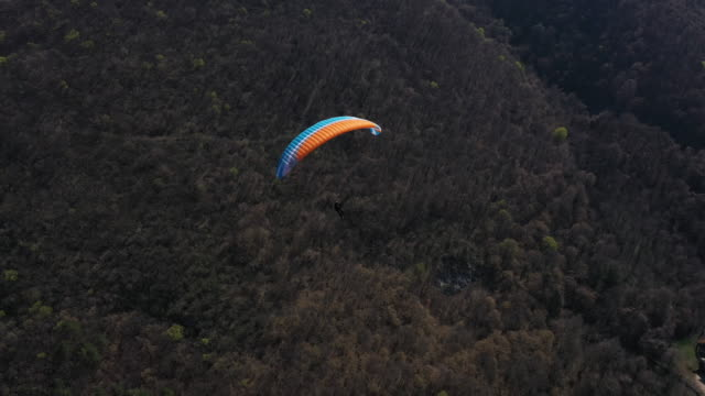 Adventurous extreme sports enthusiast paragliding