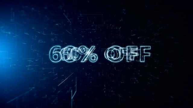advertisement text banner 60 percent off - дискаунтер стоковые видео и кадры b-roll