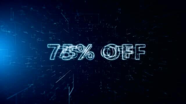 advertisement text banner 75 percent off - дискаунтер стоковые видео и кадры b-roll