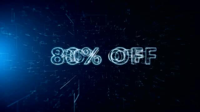 advertisement text banner 80 percent off - дискаунтер стоковые видео и кадры b-roll
