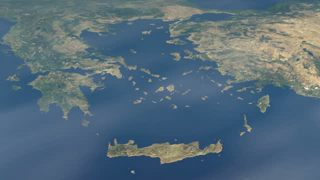 地中海のエーゲ海、地球惑星の宇宙からの空中写真 - アナトリア点の映像素材/bロール