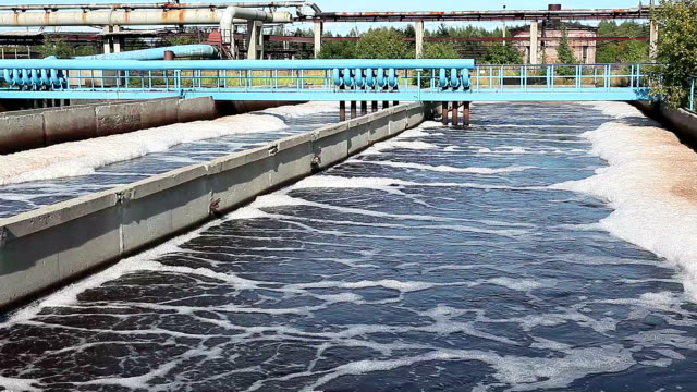 Aeration of wastewater in sewage treatment plant video