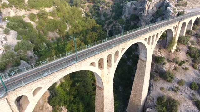 Aerial 4k resolution footage of Varda Bridge, Adana, Turkey