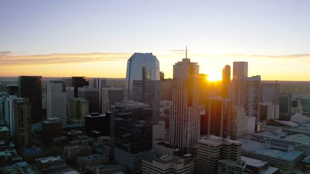 Aerial 4k View of Denver, Colorado Skyline with Sunrise