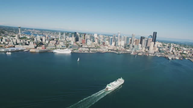 Aerial Above the Ferry Arriving to Seattle Waterfront