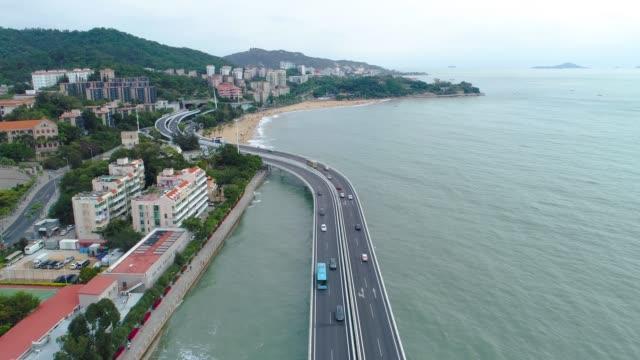 antenn över utsikt över xiamen stadsbilden av fujian kina - xiamen bildbanksvideor och videomaterial från bakom kulisserna