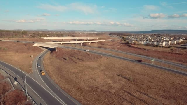 Aerial american townhomes by highway video