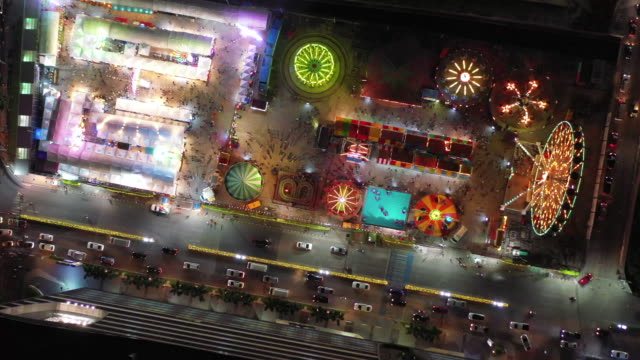 Aerial amusement park at night