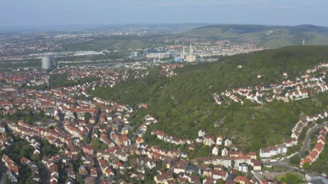 Aerial around the Gaisburg hill in spring  in Stuttgart, Germany. video
