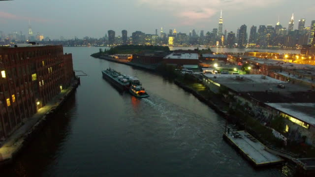 Aerial Ascent with Tug Boat & NYC Skyline