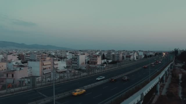 Aerial - Athens - Greece, a crane up shot of a bridge and traffic, cars video