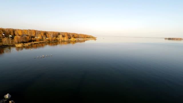 aerial backward flying over the small church by the lake - jesus christ filmów i materiałów b-roll
